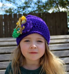 Hand Crochet Mardi Gras Hat for Infant-Adult,  Purple Fleur de Lis Crochet Hat, Mardi Gras Hat, Winter Hat,  Shabby Chic Flower Hat by LaBandeauxBowtique on Etsy