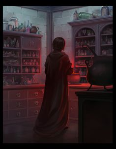 Snape in his potions lab. Snape Harry Potter, Harry Potter Severus Snape, Alan Rickman Severus Snape, Severus Rogue, Harry Potter Anime, Harry Potter Fan Art, Harry Potter Universal, Harry Potter Fandom, Harry Potter World