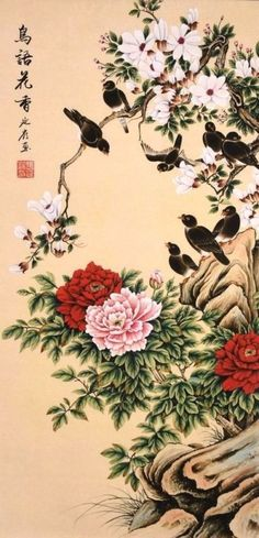 Peony flower&bird lover-ORIENTAL ASIAN ART CHINESE FAMOUS WATERCOLOR PAINTING - http://art.goshoppins.com/paintings/peony-flowerbird-lover-oriental-asian-art-chinese-famous-watercolor-painting/