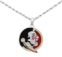 Silver Tone Necklace with Florida State Seminole Enamel Charm Sports Team Accessories http://www.amazon.com/dp/B00SVWC3ZO/ref=cm_sw_r_pi_dp_TpW1wb01355KK