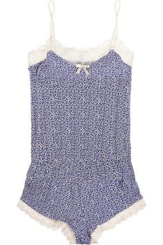 Kitty Cat printed stretch-jersey playsuit