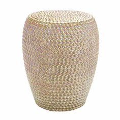 "Camel Iridescent Colored Ceramic Beaded Textured Stool  This contemporary ceramic stool is glazed in a high gloss camel iridescent color with a raised beaded texture.  Overall Dimensions of This Stool: 19"" H x 14"" Dia"