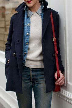 peacoat layered with a jean jacket