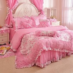MeMoreCool Home Textile Pink Sweet Style Floral Lace Princess Bedding Set Girly Ruffle 100% Cotton Duvet Cover Sets Fashion Exquisite Falbala Bed Skirt Full Size 4Pcs MeMoreCool http://www.amazon.com/dp/B00SVE45LW/ref=cm_sw_r_pi_dp_7Z9wvb0DYNATQ