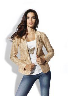 mode femme 2012 vestes blazer original blazer beige dentelle brillante