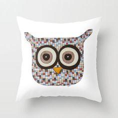 Tweed Owl Throw Pillow by Erin Brie Art