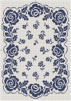 roses et rosettes free cross stitch chart or crochet chart Free Cross Stitch Charts, Cross Stitch Borders, Cross Stitch Rose, Cross Stitch Flowers, Cross Stitch Designs, Cross Stitching, Cross Stitch Embroidery, Embroidery Patterns, Cross Stitch Patterns