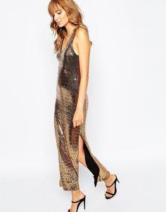 Vila+Sequin+Low+Back+Maxi+Dress