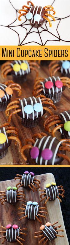 Mini Cupcake Spiders with Pretzel Legs | 5 Easy Halloween Food Ideas