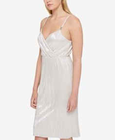Guess Shimmer-Pleated Dress - Silver 12