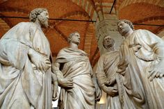 Orsanmichele Church & Museum  Florence, Italy  (Guild of Stone and Wood Masters)  Four Crowned Saints group  1414-1417 - By Nanni di Banco