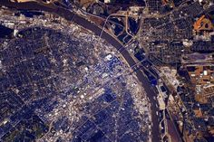 Photo of downtown St. Louis, taken 18-Oct, 2015 by U.S. astronaut Scott Kelly from the International Space Station.