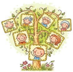 arbol genealógico: Árbol de familia feliz en imágenes, pequeño niño con sus padres y abuelos