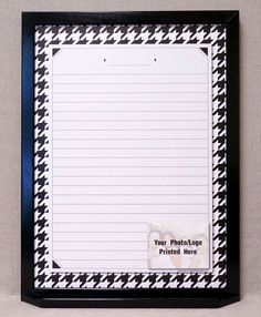 "Houndstooth Print Dry Erase Message Board - Framed Family Command Center. A classic textile that is a favorite of high-fashion houses to this day, our ""Houndstooth"" design dry erase board will be a classy and classic addition to your home decor. Our Black and White Houndstooth Check Memo Board White Board can be used for a variety of purposes, including keeping track of grocery lists, notes & reminders, inspirational quotes, daily activities, and more. Our specially treated dry erase…"