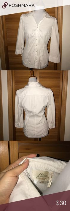 Guess Dress Shirt Preloved dress shirt in great condition may need to be ironed but looks great and stretchable! Guess Tops