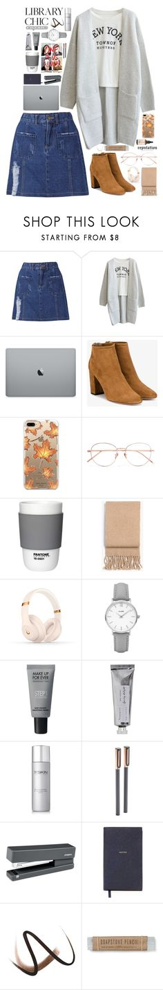 """Study Session"" by biscuitatlas ❤ liked on Polyvore featuring Aquazzura, Casetify, Linda Farrow, Pantone, Josie Maran, rag & bone, Beats by Dr. Dre, CLUSE, MAKE UP FOR EVER and Bloomingville"