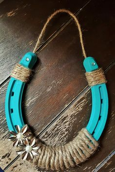 Large Turquoise Horse Shoe by JAKsVintageThings on Etsy
