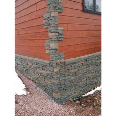 GenStone Stacked Stone Keystone 12 in. x 38 in. Faux Stone Siding Corner Panel Left at The Home Depot - Mobile Faux Brick Wall Panels, Faux Stone Panels, Faux Walls, Rock Siding, House Siding, Faux Stone Siding, Brick And Stone, Stone Walls, Exterior House Colors