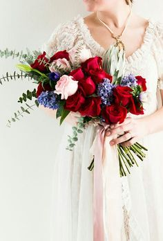 Exquisite Arm Sheaf/Presentation Style Wedding Bouquet With: Red Roses, Pink Roses, Blue Hyacinth, Purple Anemones, Green Baby Blue Eucalyptus + Green Foliage Hand Tied With Pink Ribbon^^^^ Lilac Wedding Flowers, Wedding Table Flowers, Bridesmaid Flowers, Bride Bouquets, Floral Wedding, Wedding Decorations, Wedding Ideas, Table Flower Arrangements, Wedding Arrangements