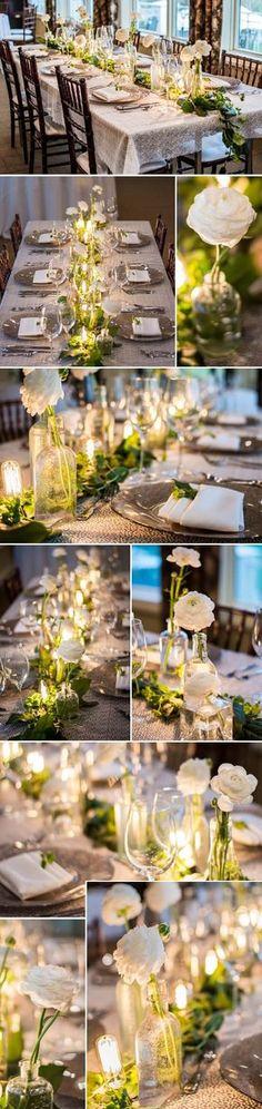 weiße Rosen im Glas - #Tischdekoration  - gartenparty deko rustikal