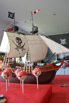 Pirate cake pops, Playmobil boat and skull cut with silhouette cameo