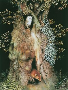 "Barn owl and fox in old oak tree print Barn Owl and Fox In Old Oak Tree ~ water color illustration from the children's book ""The Acorn's Story,"" by artist Valerie Greeley. Art And Illustration, Book Illustrations, Watercolor Illustration, Art Fox, Art Fantaisiste, Old Oak Tree, Watercolor Trees, Tree Print, Owl Print"