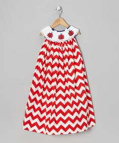 Take a look at this Red & White Chevron Ladybug Dress - Infant, Toddler & Girls on zulily today!