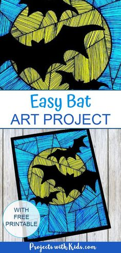 This simple bat art project is easily adaptable for kids of all ages and helps work on fine motor skills and concentration. A fun Halloween craft kids will love! art Easy Bat Art Project with Printable Halloween Art Projects, Halloween Arts And Crafts, Fall Art Projects, Halloween Activities For Kids, Halloween Painting, Art Activities For Kids, Craft Projects For Kids, Craft Kids, Easy Halloween Drawings