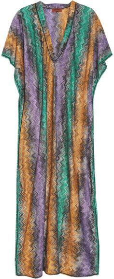Missoni Green Zigzag Crochetknit Maxi Kaftan