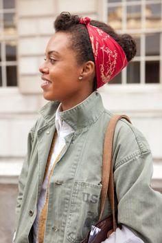Afro Street Fashion | Ghetto.Miss.Afro™: STREET STYLE: Mini Quiff & a Bun wrapped in head ...