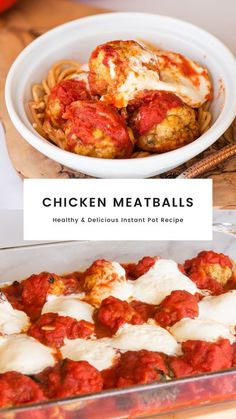This contains: Chicken meatballs topped with marinara and mozzarella cheese baked in a pan and served in a white bowl. Pork Recipes For Dinner, Healthy Chicken Dinner, Entree Recipes, Healthy Chicken Recipes, Lunch Recipes, Vegetable Recipes, Turkey Recipes, Healthy Meals, Family Recipes