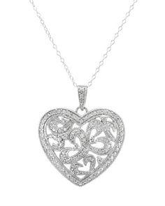 """Flott hjerteanheng i 925 Sterling sølv. Sølvkjedet følger med. Lengde: Ca 45,7 cm (18 """").  Anheng størrelse: Lengde: 26 mm. Bredde: 22 mm. Total vekt: 3,2 g. #sølvkjede #smykke #hjertesmykke #kjede #anheng #sølvhjerte #zendesign Zen, Diamond, Silver, Jewelry, Design, Jewlery, Jewerly, Schmuck"""