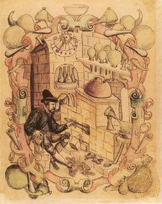 Alchemist in his laboratory. Miniature from Janus Lacinius manuscript, 1583