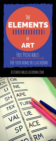 Elements of Art Definitions & Free Printable Resources I love introducing kids to the elements of art because it takes away some of the intimidation of talking about art. They already have the tools to do it! Middle School Art, Art School, High School, Elements Of Art Definition, Art Doodle, Elements And Principles, Art Elements, Art Handouts, Art Worksheets