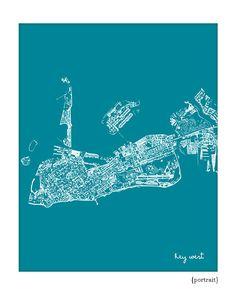 Key West Cityscape / Florida Map Art Print by jennasuecityscapes, $18.00