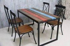 escritorio o mesa estilo industrial de hierro y madera