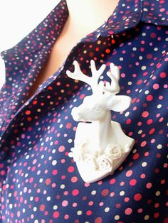 Buck Yourself Brooch - Marble Faun Edition by Kitschy Galore www.kitschygalore.com #etsy #jewelry #handmade #woodland #whimsical #fantasy #deer #stag #buck #faun #antler #mounted #trophy  #brooch #pin #handmadejewelry