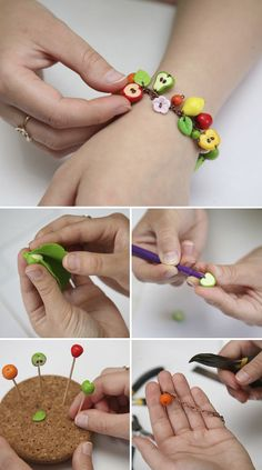 DIY Fruit Bracelet of Polymer Clay   Делаем браслет «Фруктовая радость» из полимерной глины