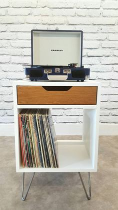 Modern Nightstand, Record Player Stand, Bedside Table, White End Table, Mid Century Modern, Record Storage, Hairpin Leg, Drawer, White Oak
