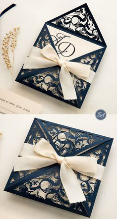 EWI gorgeous navy blue laser cut wedding invitation with coral ribbon 744782857107474254 Ivory Wedding Invitations, Diy Invitations, Wedding Invitation Wording, Elegant Wedding Invitations, Wedding Stationery, Invitation Design, Invitation Suite, Invitation Templates, Wedding Cards