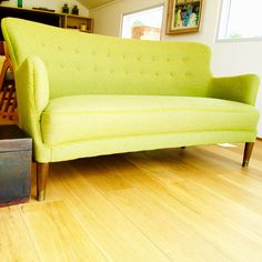 Although its 2017 and everybody has good things to say about Green. Up cycled mid century Danish sofa which has been completely reupholstered and covered with a Designers Guild wool fabric set off with Bute Kilmore piping.  #house #design #art  #modernhome #homedesign #design #contemporarydesign #modernhouse #holidayhome #midcenturydesign #floatingoffices #floatingpavilions