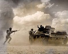 British troops capturing a DAK tank in Africa - At the second battle of El Alamein.