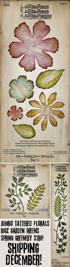 Sizzix Tim Holtz Alterations Garden Greens Thinlits Die