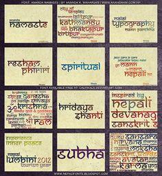 Font: Ananda Namaste (Neptouch Neptouch fonts are inspired by Nepali Devanagari Sanskrit script. Designed by: Ananda K. English Calligraphy Font, Hindi Calligraphy, Sanskrit Font, Sanskrit Language, Tattoo Script, Tattoo Fonts, Namaste Tattoo, Indian Font, English Fonts
