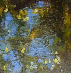"""Painting, original oil, blue, gold, olive green, brown, textural, 10 x 12 inches, """"Glimpse"""""""