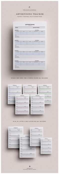 Business Planner Printable - The Advertising Planner / Tracker. Great for bloggers and Etsy shop owners. | Business planner | Blog planner | Printable Planner Pages Insert. Available in A4, A5, Letter & Half Letter. Fit for Kikki K Large and Filopax A5 | Wall Planner | Desk Planner