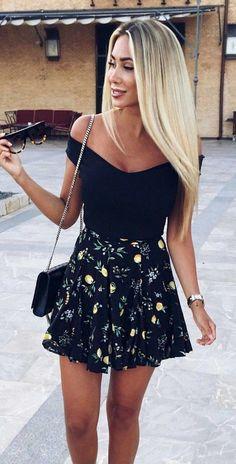 #summer #outfits Black Off The Shoulder Top + Black Printed Skirt