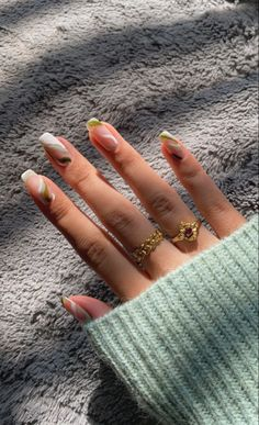 Chic Nails, Stylish Nails, Colorful Nail Designs, Nail Art Designs, Spring Nails, Summer Nails, Nail Ring, Trendy Nail Art, Neutral Nails
