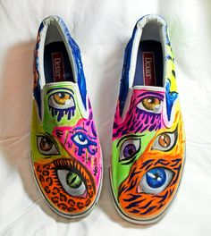 Neon Rave Glow in the dark Eye shoes Rave Shoes, Neon Shoes, Edm Outfits, Music Festival Outfits, Buy Shoes Online, Dark Eyes, Cheap Shoes, Types Of Shoes, Keds