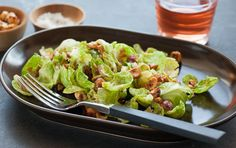 This crunchy salad, which combines Brussels sprouts' bright green leaves with a tangy mustard vinaigrette, will win over even skeptical diners. Serve as an impressive side dish for the holidays or a weeknight meal with your family. Sprouts Salad, Brussel Sprout Salad, Brussels Sprouts, New Recipes, Whole Food Recipes, Recipe Blogs, Recipies, Clean Eating, Healthy Eating